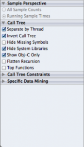 Meaning of List of sections in Call Tree in Instruments in Xcode Instruments